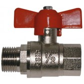 "1/4"" BSPP Ball Valve M/F T-Handle Red"