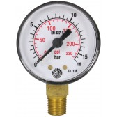 "PRESSURE GAUGE 0-16 BAR 1/8""M BOTTOM INLET"