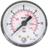 "PRESSURE GAUGE 0-12 BAR 1/8""M REAR INLET"