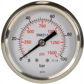 PRESSURE GAUGE 0-100 BAR WITH REAR ENTRY