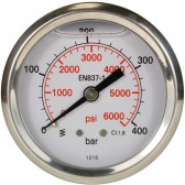 PRESSURE GAUGE 0-400 BAR WITH REAR ENTRY