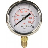 "PRESSURE GAUGE 0-25 BAR 1/4""M BOTTOM INLET"