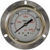 PRESSURE GAUGE 0-100 BAR WITH MOUNTING RING REAR ENTRY