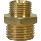 """MALE TO MALE BRASS DOUBLE NIPPLE ADAPTOR-1/4""""M to 3/8""""M"""