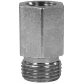 """MALE TO FEMALE ZINC PLATED STEEL BICONE RING COMPRESSION FITTING ADAPTOR X-GAI-M14 M to 1/4""""F"""