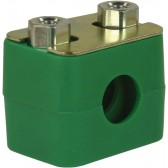 PIPE CLAMP 22mm GREEN TWIN ASSEMBLY