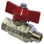 "BALL VALVE + RED HANDLE 3/8""M x 3/8""F NICKEL PLATED"