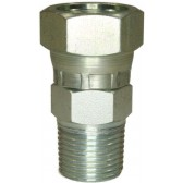 """FEMALE TO MALE ZINC PLATED STEEL SWIVEL ADAPTOR BSP TAPERED-3/8""""F to 1/2""""M"""