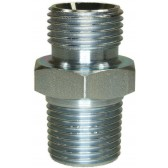 "MALE TO MALE ZINC PLATED STEEL ADAPTOR BSP TO NPT TAPERED-3/8""M to 1/2""TM"