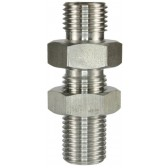 """MALE TO MALE STAINLESS STEEL BULKHEAD FITTING AND LOCKNUT-1/4""""M to 1/4""""M"""