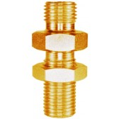 """MALE TO MALE BRASS BULKHEAD FITTING AND LOCKNUT -1/2""""M to 1/2""""M"""