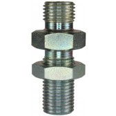 """MALE TO MALE ZINC PLATED STEEL BULKHEAD FITTING AND LOCKNUT-1/2""""M to 1/2""""M"""