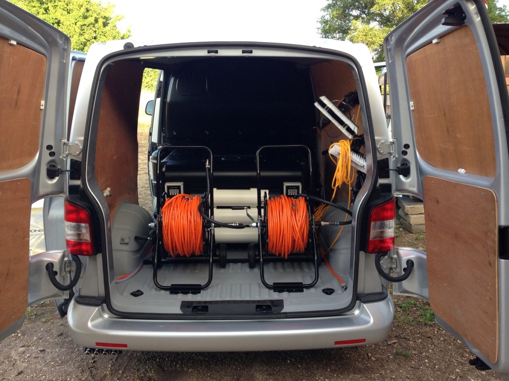 We supplied: A full GrippaMAX 650 2 Man RO PRO Hot Water System with hose reels and poles. Based on the work covered by the customer, they required range of poles and other tools to be also fitted into the vehicle - but the key being the hot water system itself. The vehicle was collected by ourselves, delivered to the vehicle liners, delivered to ourselves to work and test, and then returned to the customer's door step.